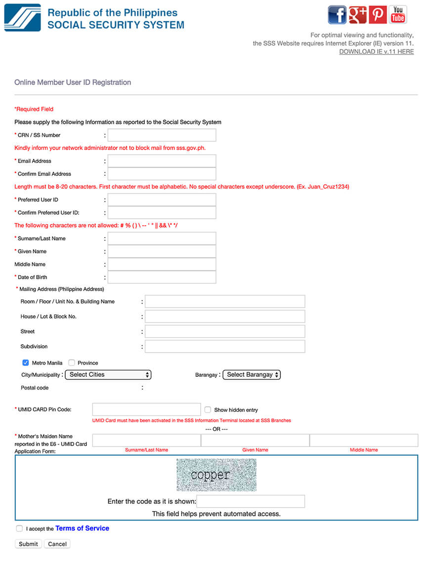 My.SSS Account Application Form