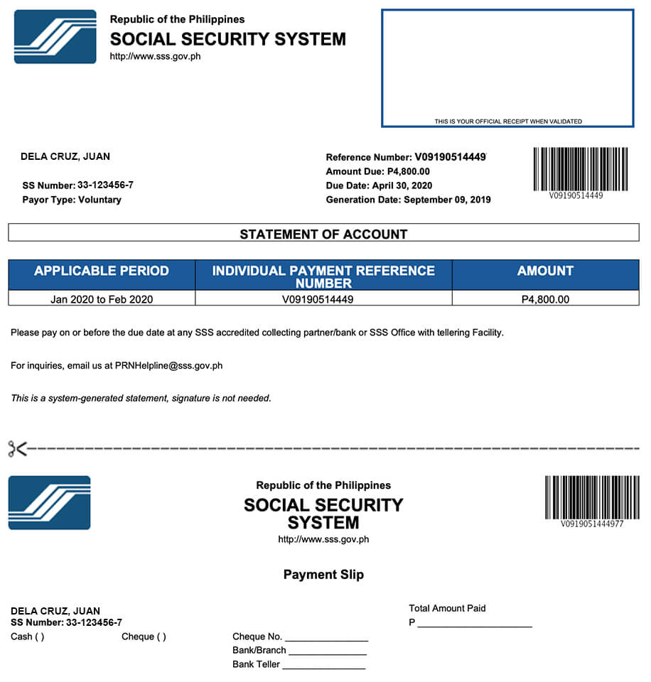 SSS Statement of Account for Payment Slip